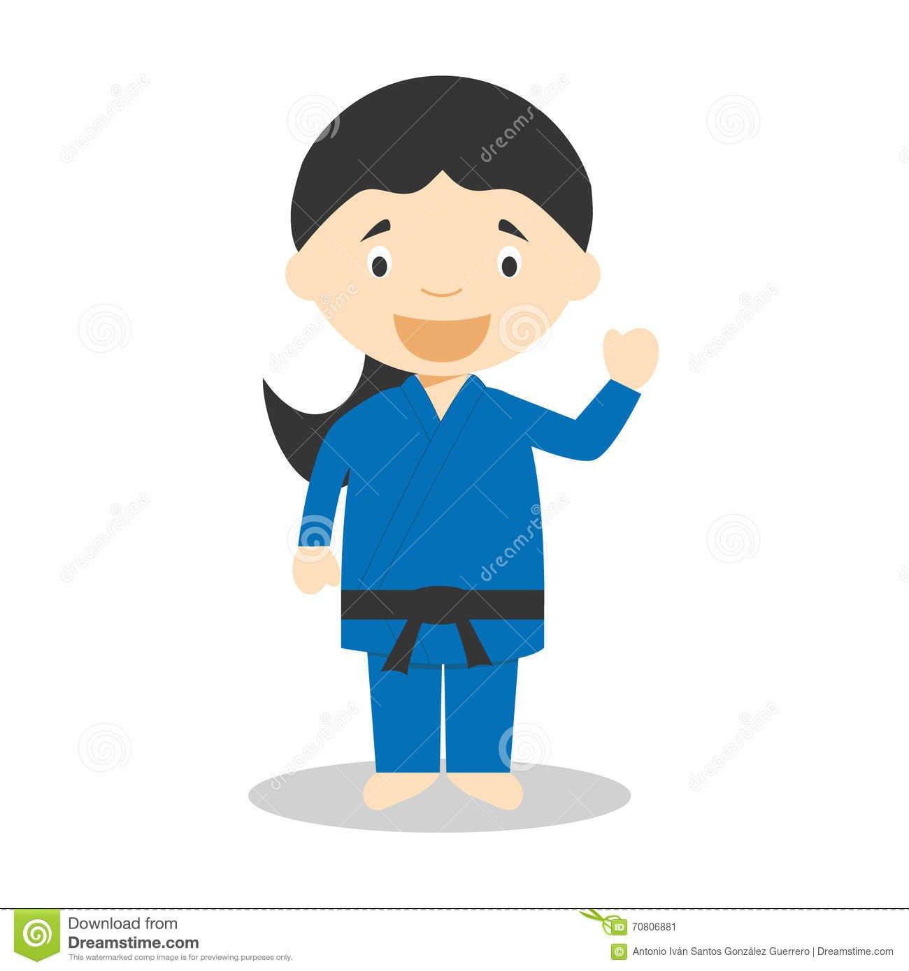 Sports Cartoon Vector Illustrations  Judo (female) Stock Vector
