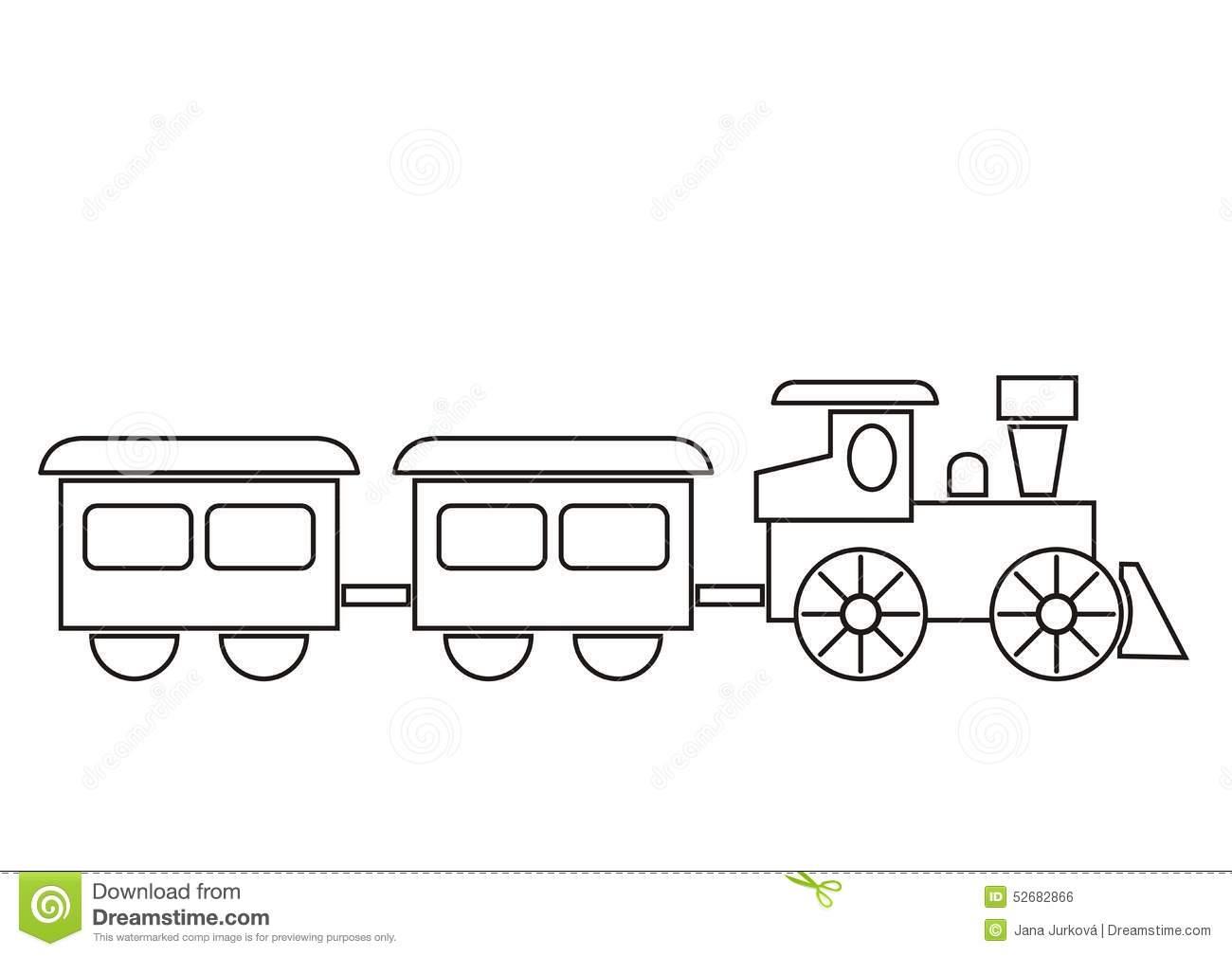 Trem, Livro Para Colorir Ilustração Do Vetor