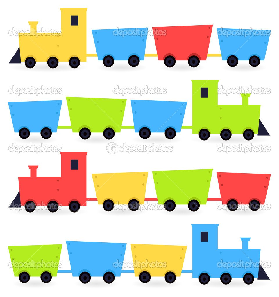 Trens Colorido Dos Desenhos Animados Infantis, Isolados No Branco