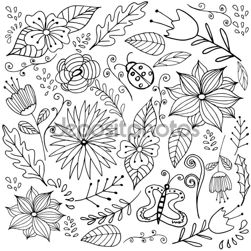 Vector Linha Esboçado Arte Doodle Desenho Animado Conjunto