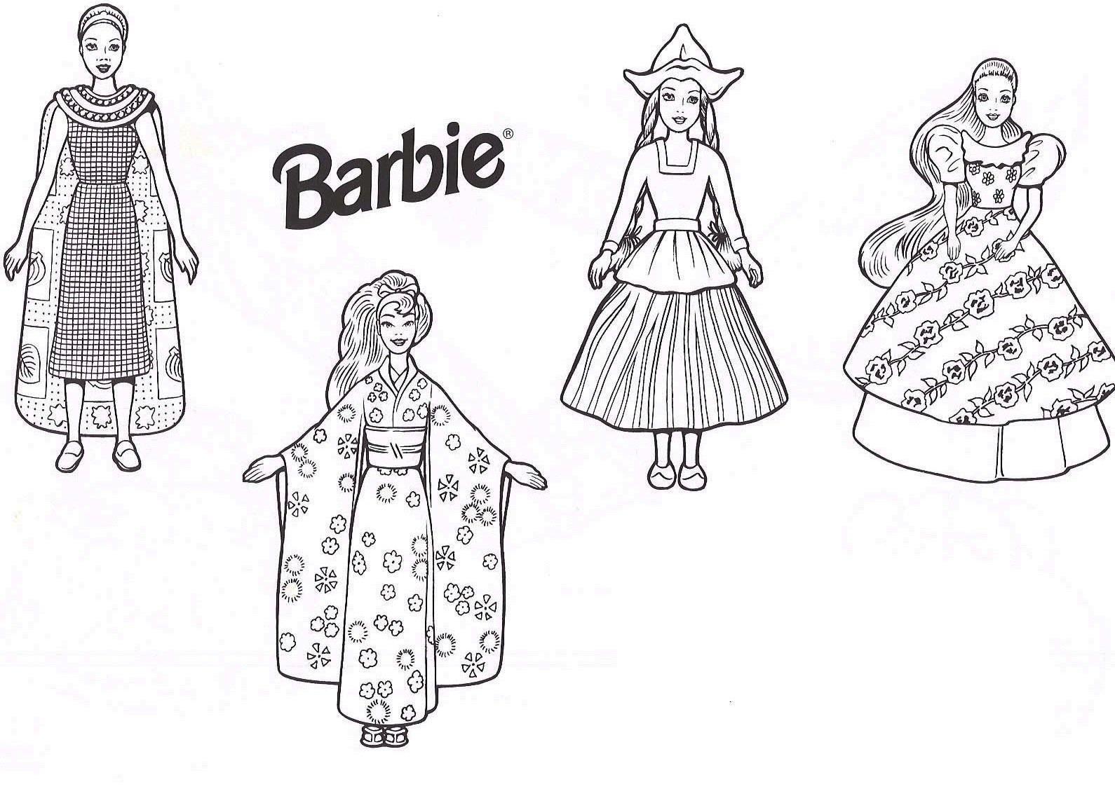 Vestidos Da Barbie Para Colorir E Imprimir