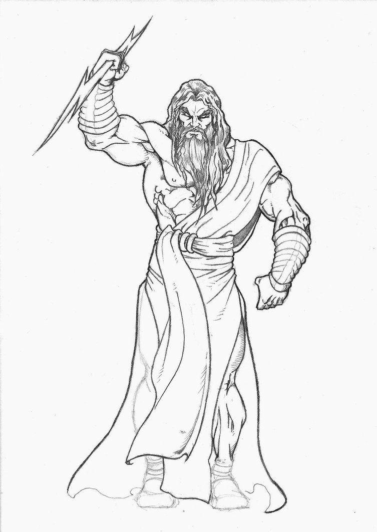 Zeus Drawing Sketch Coloring Page