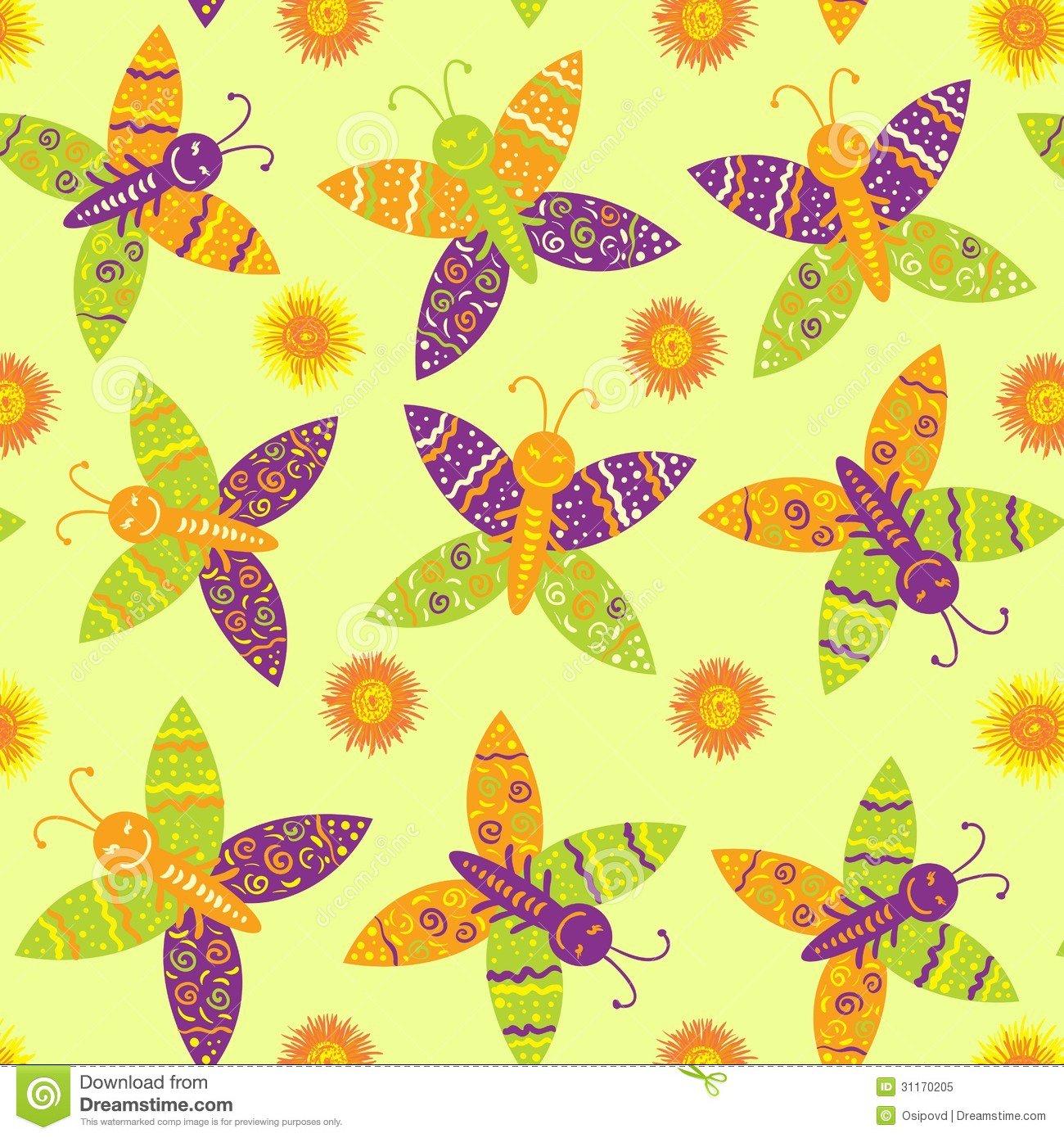 Borboletas E Flores Sem Emenda Do Desenho Foto De Stock Royalty