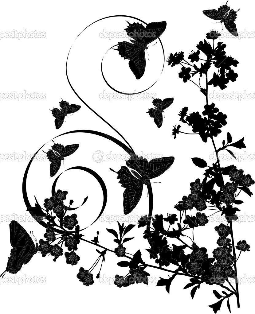 Desenho De Borboletas E Cerejeira — Vetor De Stock © Dr Pas  6329171