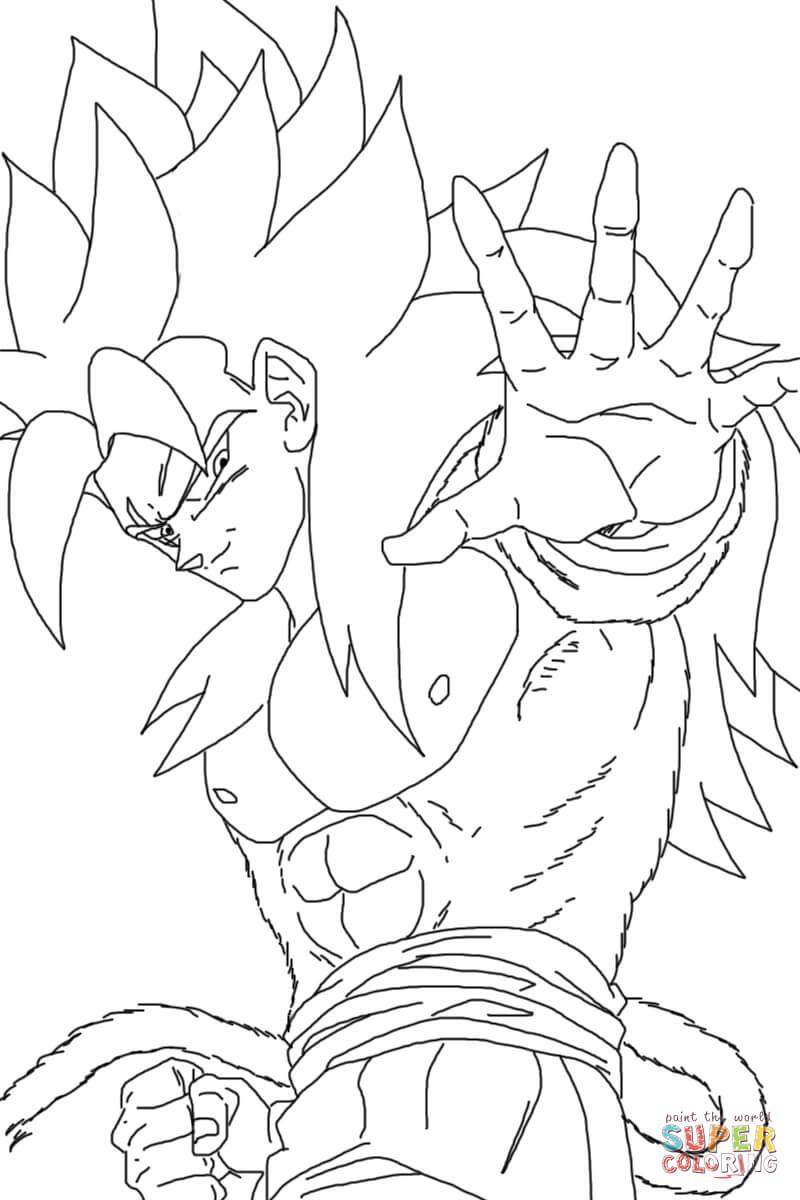 Desenho De Super Sayajin 4 Para Colorir
