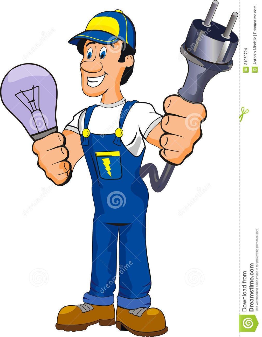 Desenhos Animados Do Eletricista Imagens De Stock