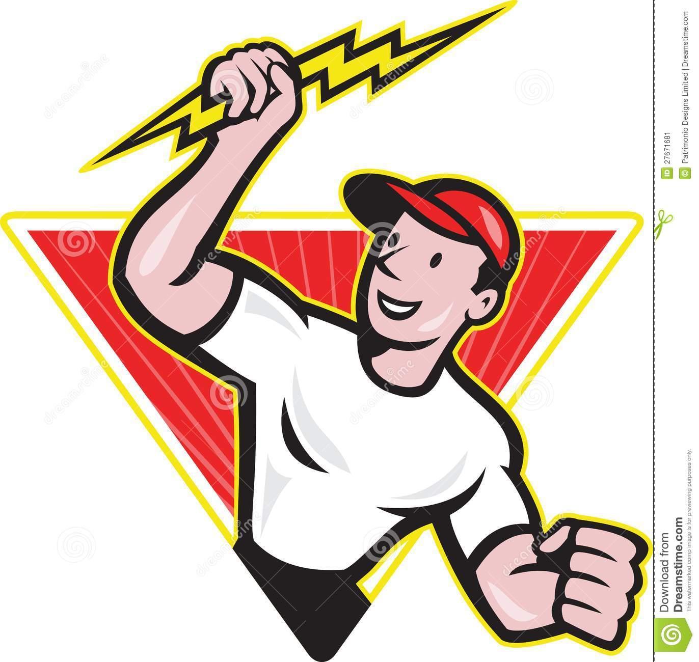 Eletricista Dos Desenhos Animados Fotos De Stock