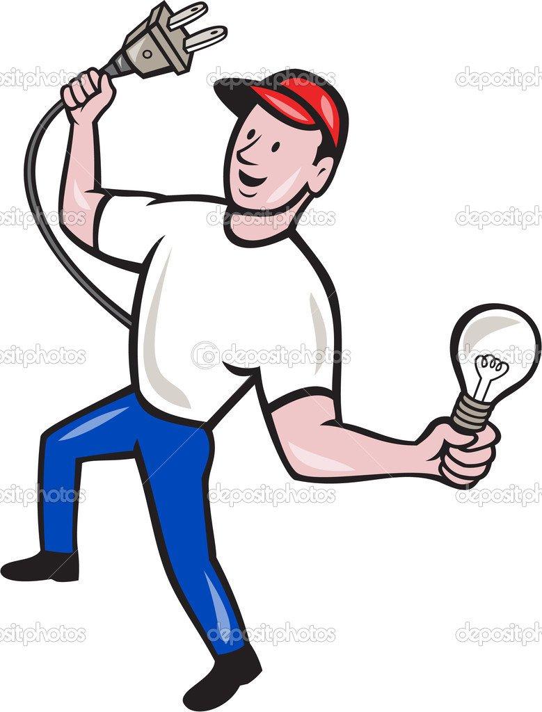Eletricista Porão Elétrica Plug E Bulbo Dos Desenhos Animados