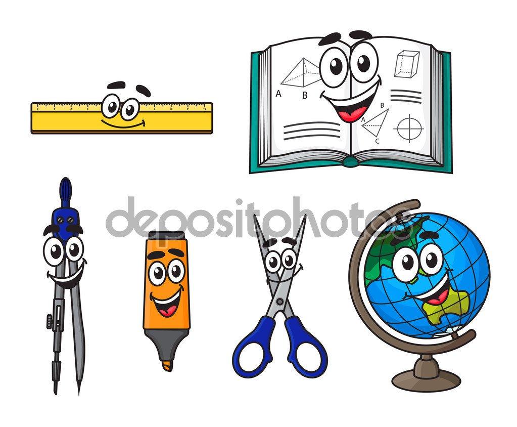 Material Escolar De Desenho Animado Feliz — Vetores De Stock