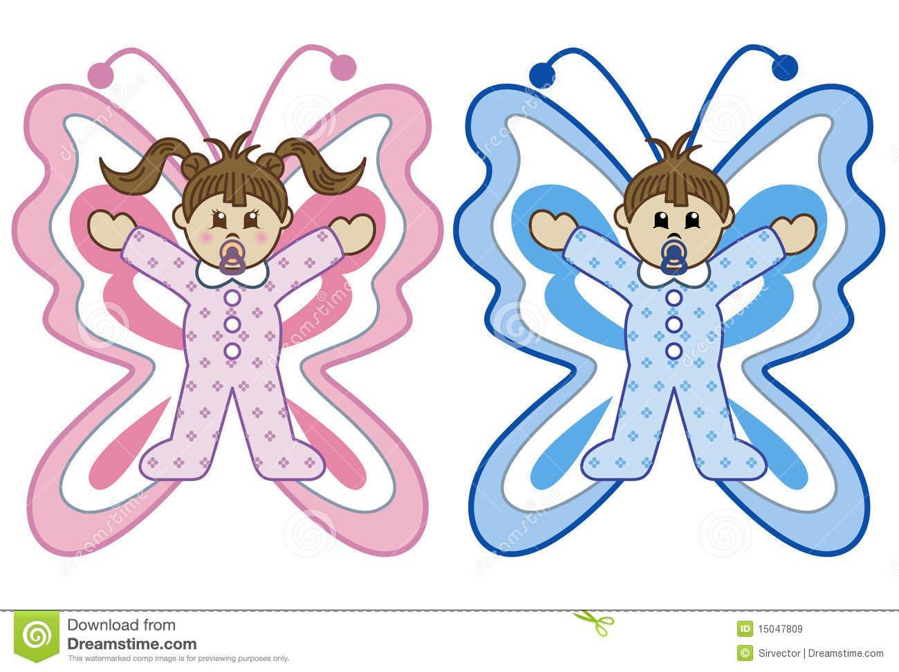 Os Bebês Na Borboleta Trajam Desenhos Animados Imagens De Stock
