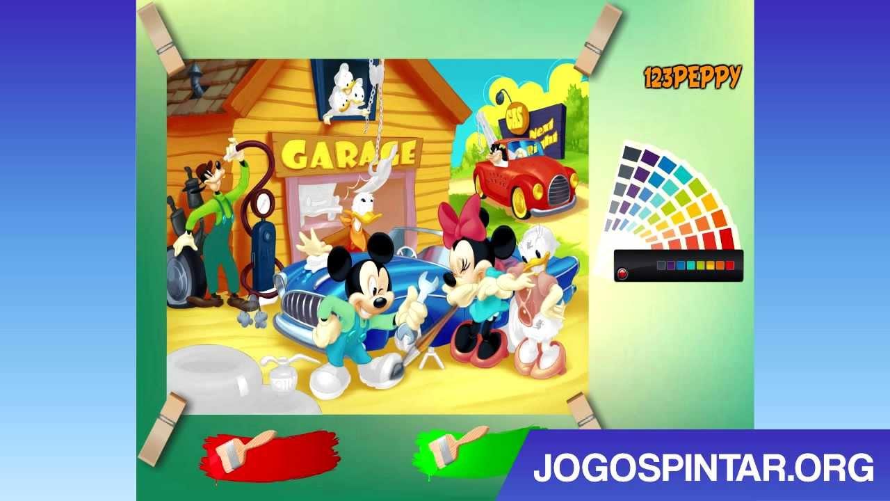 Pintar O Mickey E Pato Donald Na Garagem