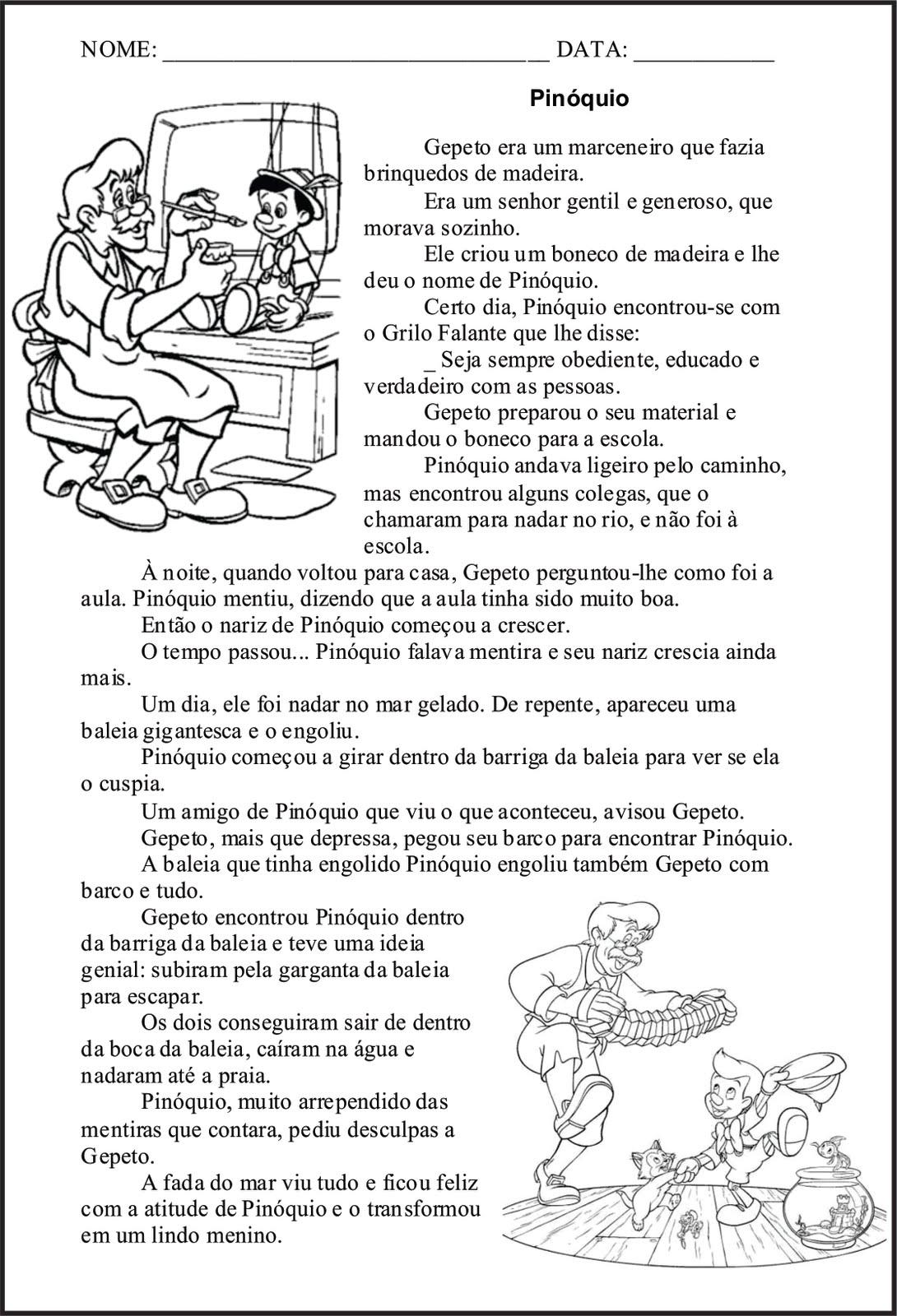 Portal Escola  50 Atividades PinÓquio Contos De Fadas FÁbulas
