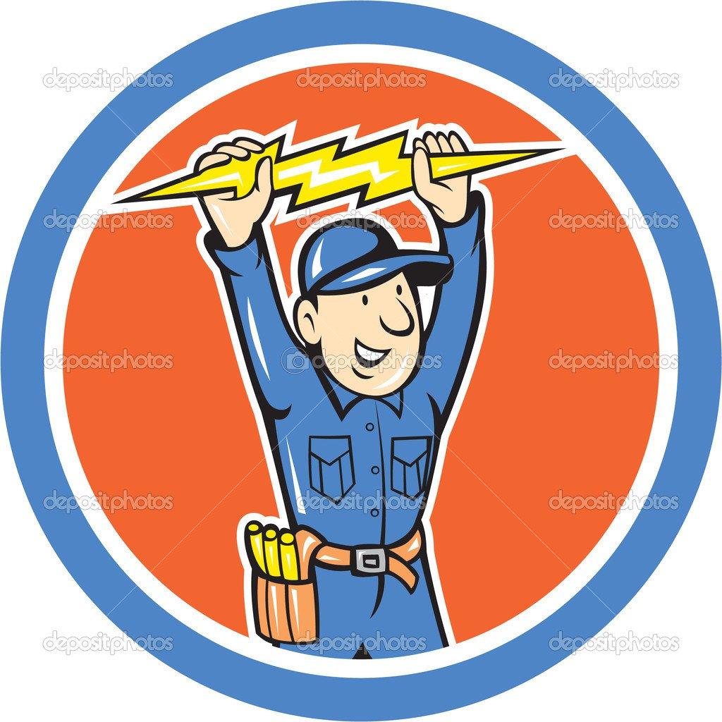 Thunderbolt Tool Eletricista Lightning Bolt Dos Desenhos Animados